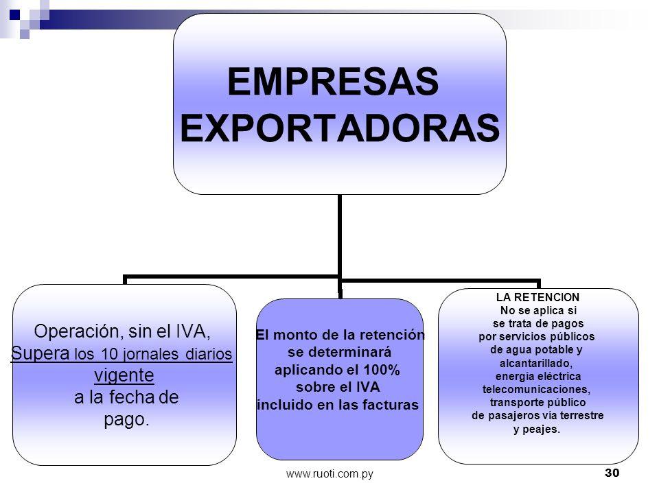 www.ruoti.com.py30 EMPRESAS EXPORTADORAS Operación, sin el IVA, Supera los 10 jornales diarios vigente a la fecha de pago. LA RETENCION No se aplica s