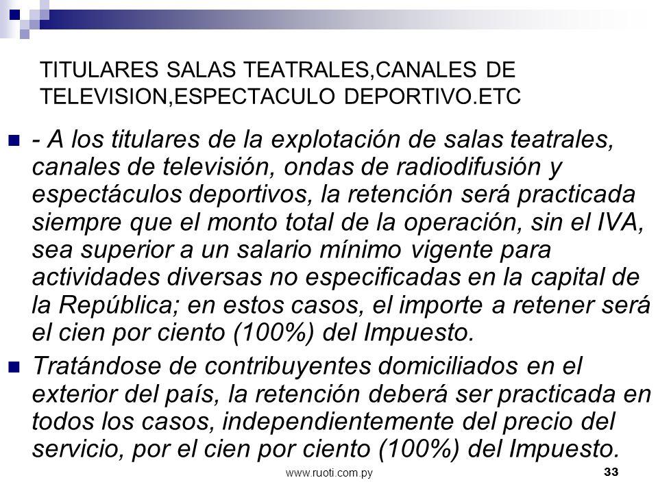 www.ruoti.com.py33 TITULARES SALAS TEATRALES,CANALES DE TELEVISION,ESPECTACULO DEPORTIVO.ETC - A los titulares de la explotación de salas teatrales, c