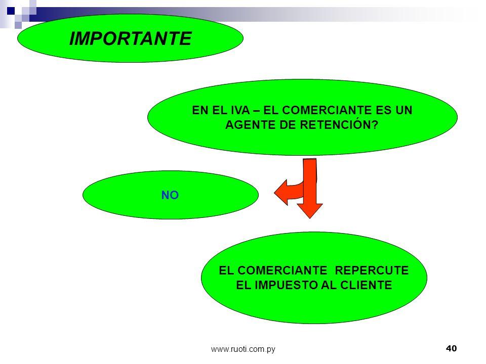 www.ruoti.com.py40 EN EL IVA – EL COMERCIANTE ES UN AGENTE DE RETENCIÓN? NO EL COMERCIANTE REPERCUTE EL IMPUESTO AL CLIENTE IMPORTANTE