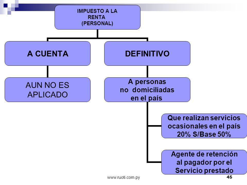 www.ruoti.com.py45 IMPUESTO A LA RENTA (PERSONAL) A CUENTA AUN NO ES APLICADO DEFINITIVO A personas no domiciliadas en el país Que realizan servicios