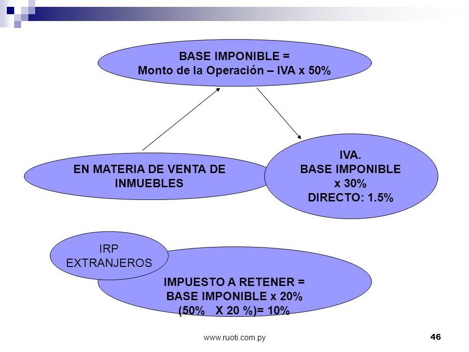 www.ruoti.com.py46 BASE IMPONIBLE = Monto de la Operación – IVA x 50% IMPUESTO A RETENER = BASE IMPONIBLE x 20% (50% X 20 %)= 10% EN MATERIA DE VENTA
