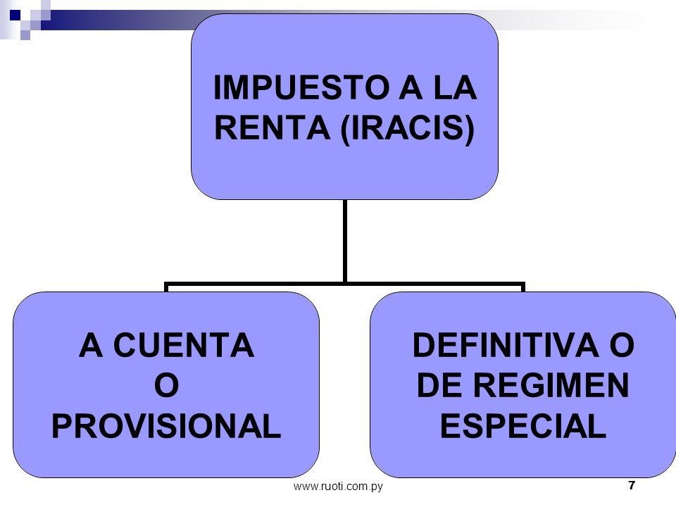 www.ruoti.com.py28 Regimenes Especiales Pago único ALCOHOL CARBURANTE DTO.14.073/92 Gs.210 X c/litro Pago único Circula ex.