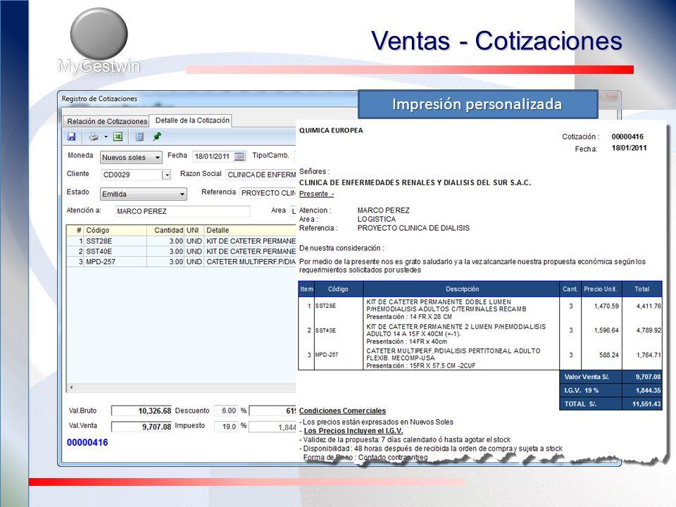 Ventas - Pedidos MyGestwin Maneja 3 listas de precios Múltiples tarifarios (por tipo de cliente o cliente) Múltiples puntos de entrega de la mercadería y fechas de entrega diferidas.