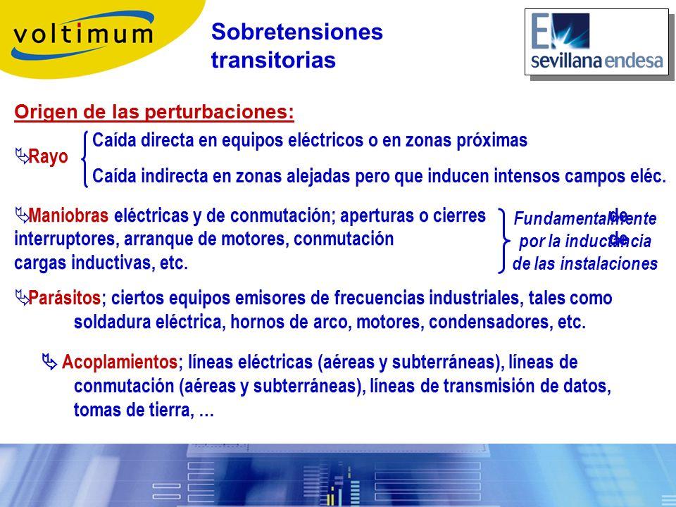 Fundamentalmente por la inductancia de las instalaciones Origen de las perturbaciones: Rayo Maniobras eléctricas y de conmutación; aperturas o cierres