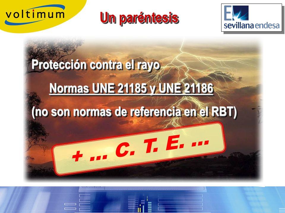 Un paréntesis Protección contra el rayo Normas UNE 21185 y UNE 21186 Normas UNE 21185 y UNE 21186 (no son normas de referencia en el RBT) Un paréntesi