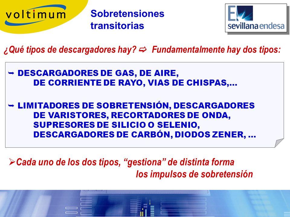 ¿Qué tipos de descargadores hay? Fundamentalmente hay dos tipos: DESCARGADORES DE GAS, DE AIRE, DE CORRIENTE DE RAYO, VIAS DE CHISPAS,… LIMITADORES DE