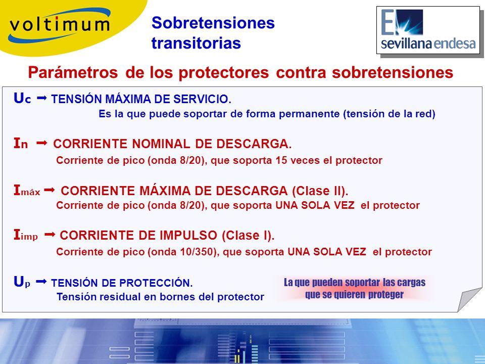 Parámetros de los protectores contra sobretensiones U c TENSIÓN MÁXIMA DE SERVICIO. Es la que puede soportar de forma permanente (tensión de la red) I