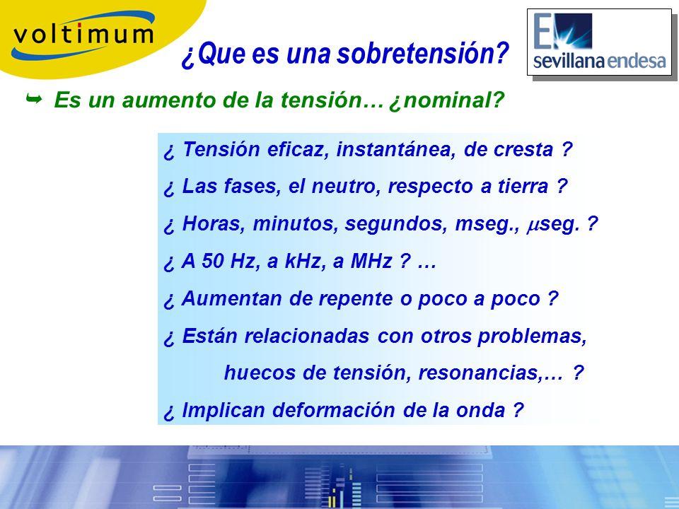 Sobretensiones, tipos: Sobretensión transitoria Sobretensión temporal, permanente o a 50 Hz Aparece un impulso Aumenta la tensión