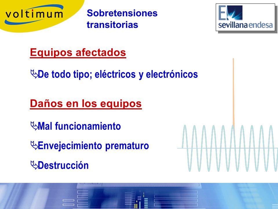 Equipos afectados De todo tipo; eléctricos y electrónicos Daños en los equipos Mal funcionamiento Envejecimiento prematuro Destrucción Sobretensiones