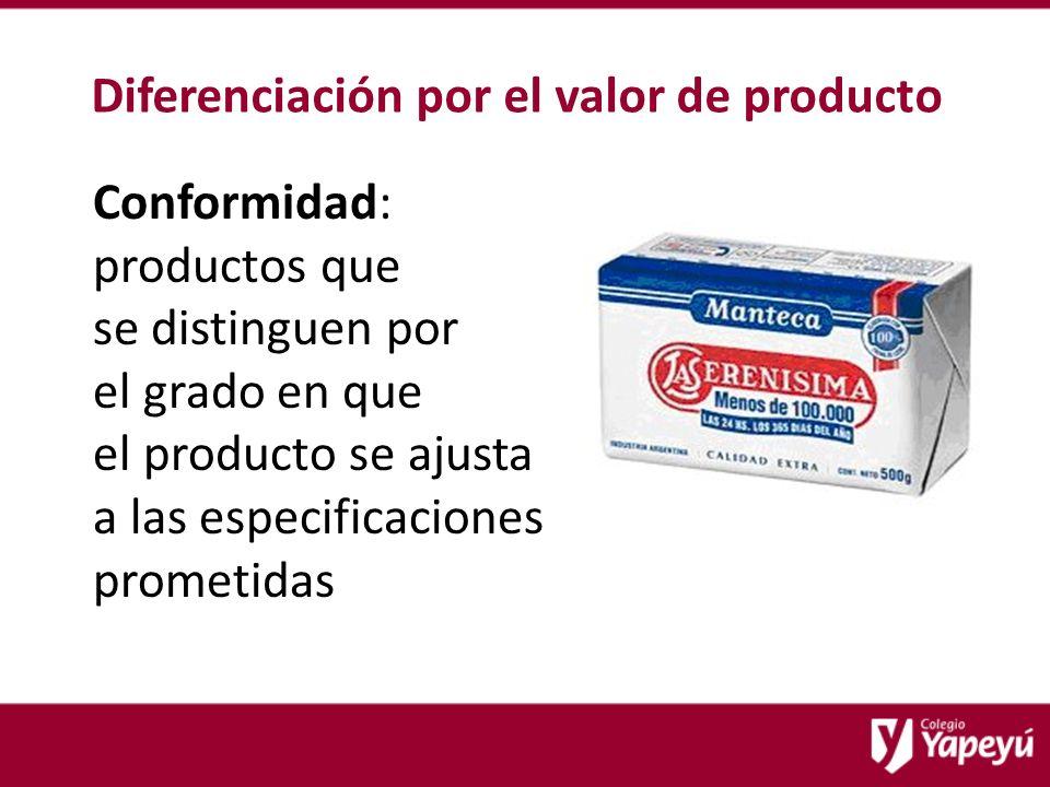 Diferenciación por el valor de producto Conformidad: productos que se distinguen por el grado en que el producto se ajusta a las especificaciones prometidas