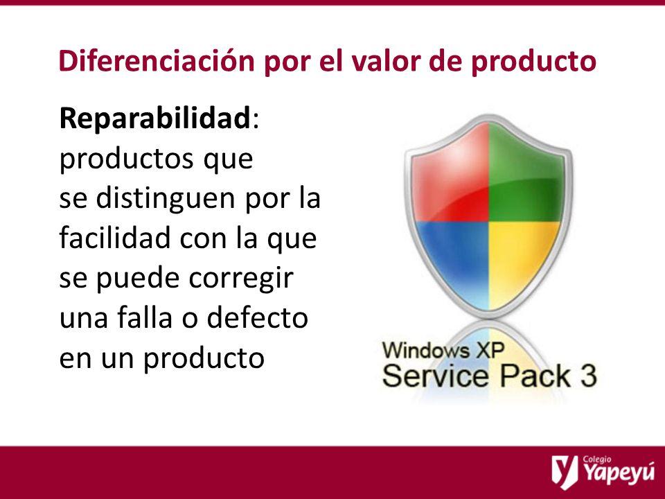 Diferenciación por el valor de producto Reparabilidad: productos que se distinguen por la facilidad con la que se puede corregir una falla o defecto en un producto