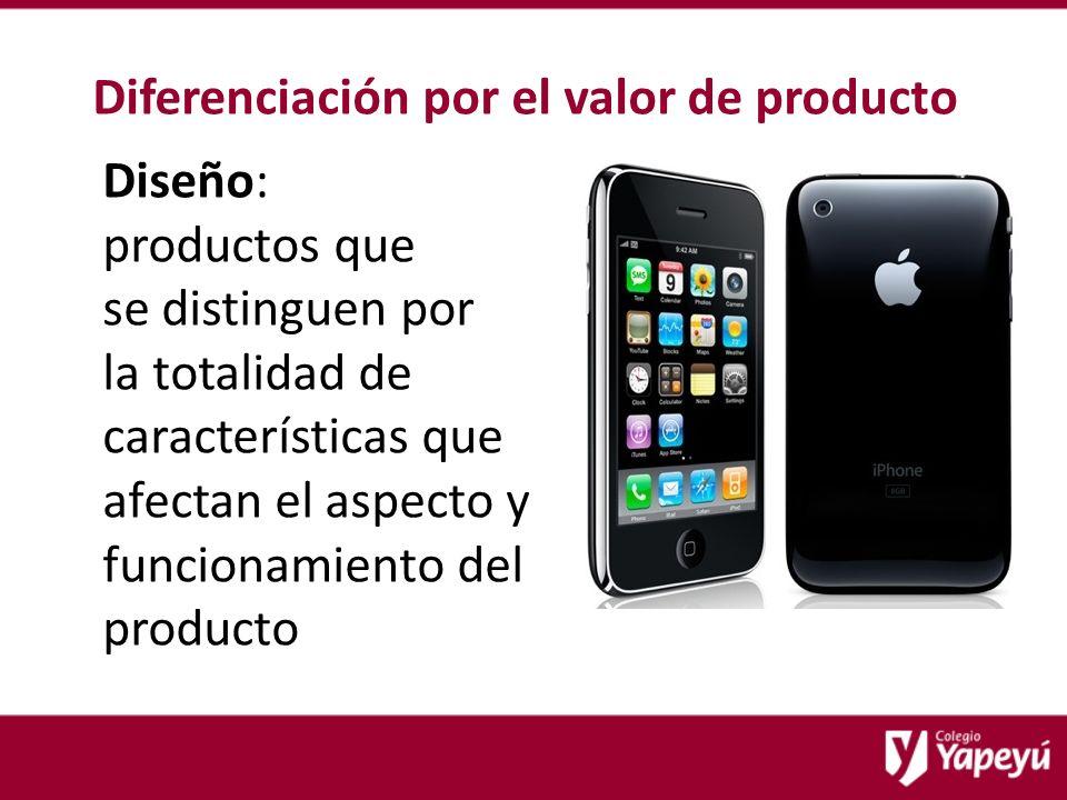 Diferenciación por el valor de producto Diseño: productos que se distinguen por la totalidad de características que afectan el aspecto y funcionamiento del producto