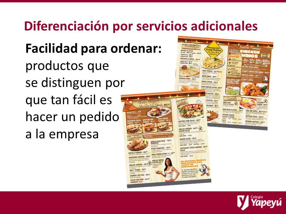 Diferenciación por servicios adicionales Facilidad para ordenar: productos que se distinguen por que tan fácil es hacer un pedido a la empresa