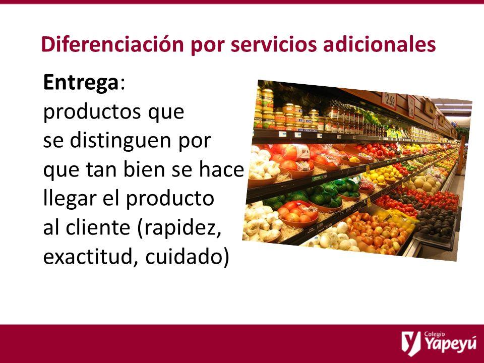 Diferenciación por servicios adicionales Entrega: productos que se distinguen por que tan bien se hace llegar el producto al cliente (rapidez, exactitud, cuidado)