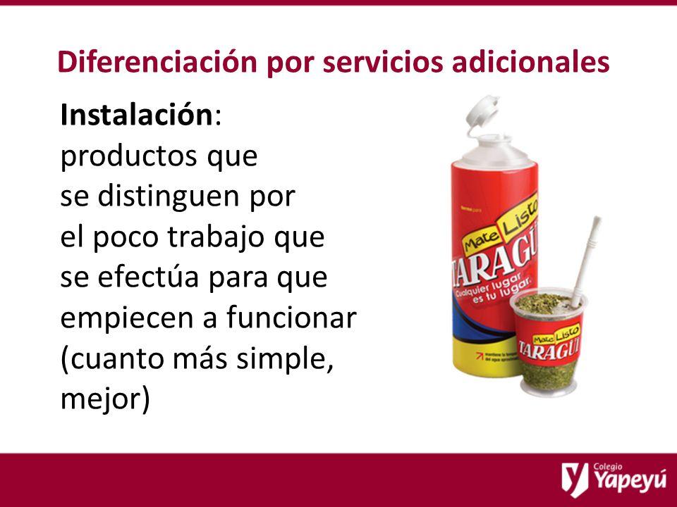 Diferenciación por servicios adicionales Instalación: productos que se distinguen por el poco trabajo que se efectúa para que empiecen a funcionar (cuanto más simple, mejor)