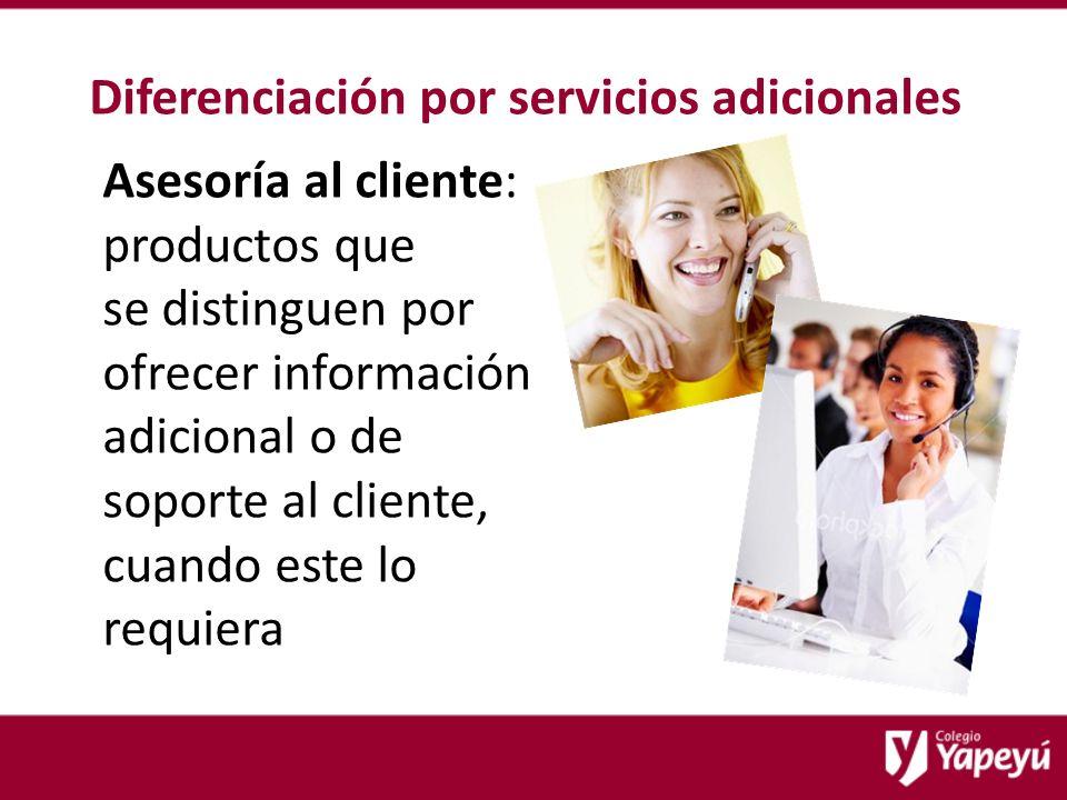 Diferenciación por servicios adicionales Asesoría al cliente: productos que se distinguen por ofrecer información adicional o de soporte al cliente, cuando este lo requiera