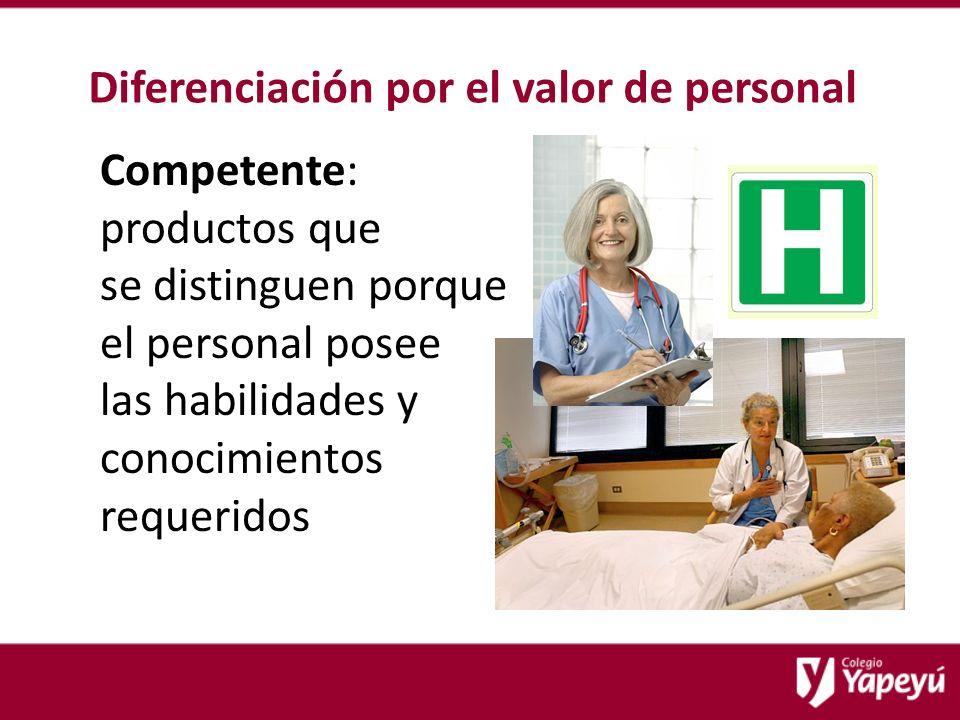 Diferenciación por el valor de personal Competente: productos que se distinguen porque el personal posee las habilidades y conocimientos requeridos