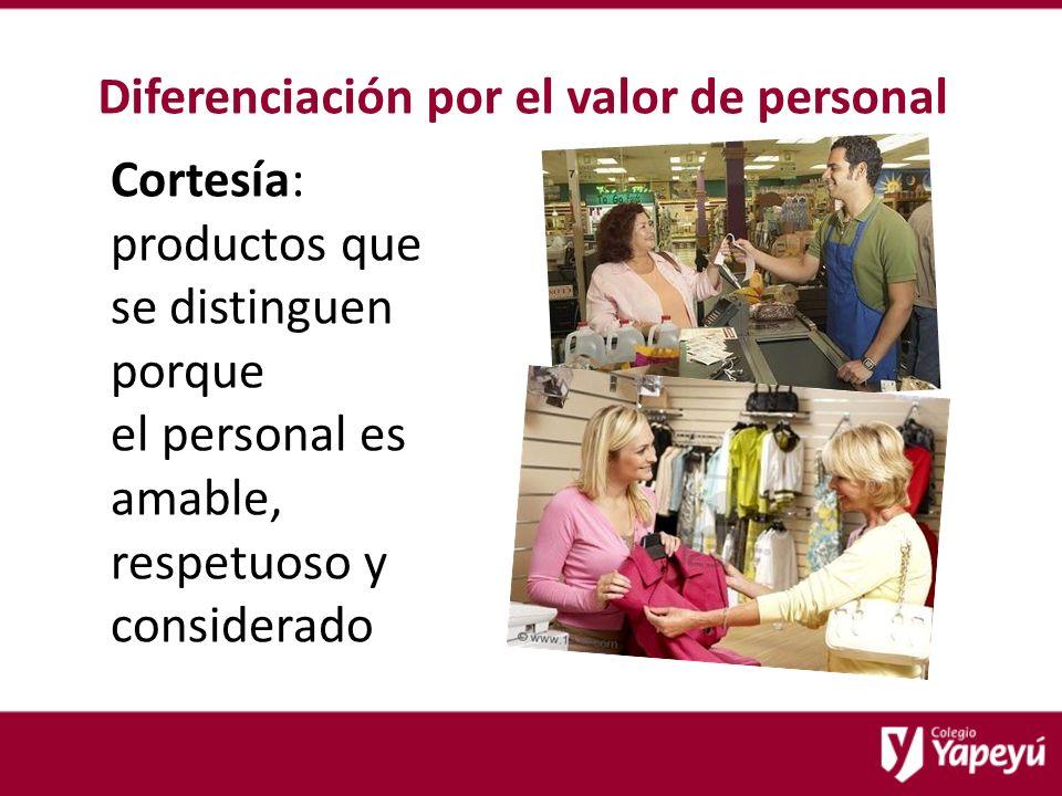 Diferenciación por el valor de personal Cortesía: productos que se distinguen porque el personal es amable, respetuoso y considerado
