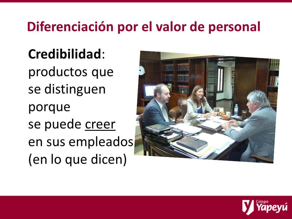 Diferenciación por el valor de personal Credibilidad: productos que se distinguen porque se puede creer en sus empleados (en lo que dicen)
