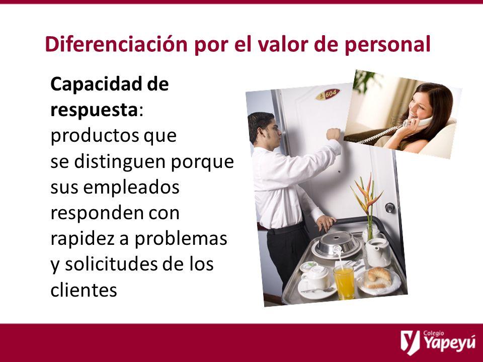 Diferenciación por el valor de personal Capacidad de respuesta: productos que se distinguen porque sus empleados responden con rapidez a problemas y solicitudes de los clientes
