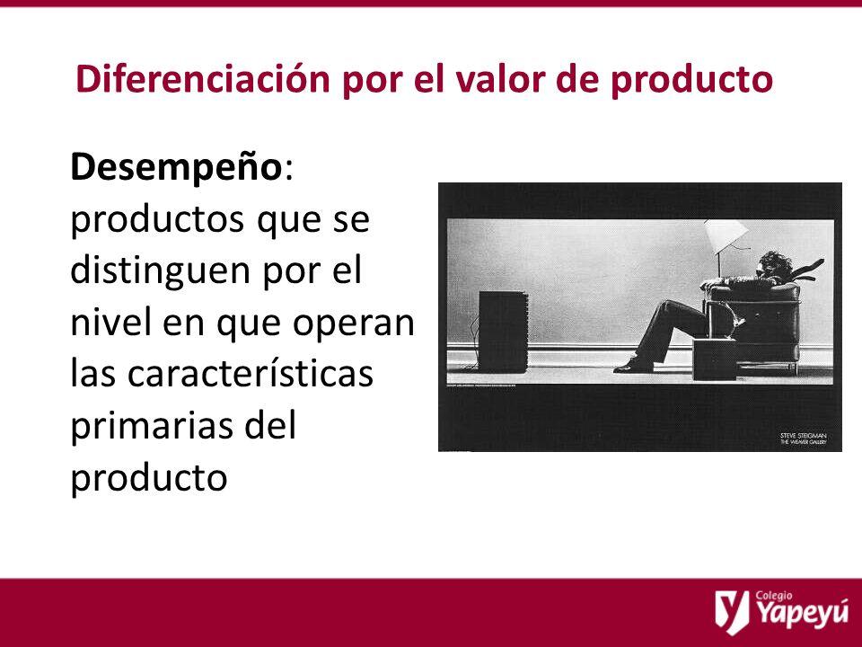 Diferenciación por el valor de producto Desempeño: productos que se distinguen por el nivel en que operan las características primarias del producto