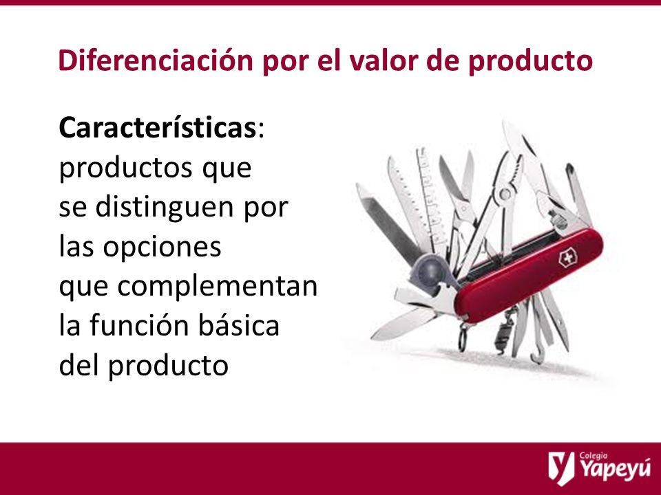 Diferenciación por el valor de producto Características: productos que se distinguen por las opciones que complementan la función básica del producto