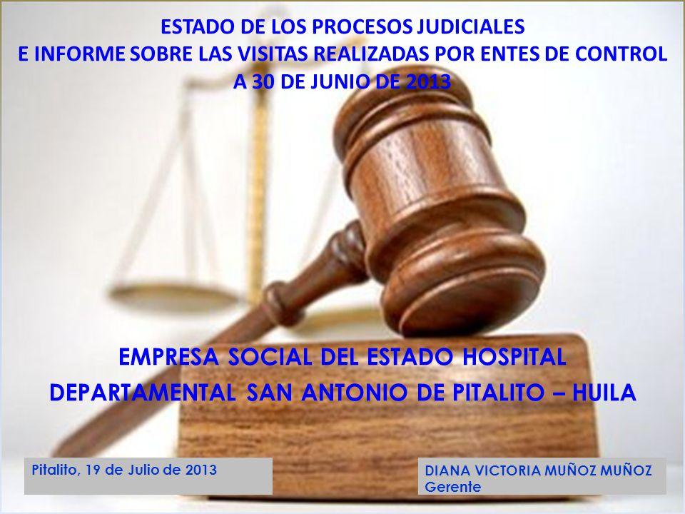 EMPRESA SOCIAL DEL ESTADO HOSPITAL DEPARTAMENTAL SAN ANTONIO DE PITALITO – HUILA ESTADO DE LOS PROCESOS JUDICIALES E INFORME SOBRE LAS VISITAS REALIZA
