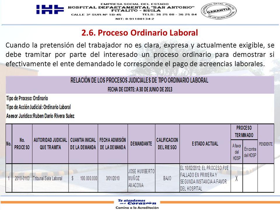 2.6. Proceso Ordinario Laboral Cuando la pretensión del trabajador no es clara, expresa y actualmente exigible, se debe tramitar por parte del interes