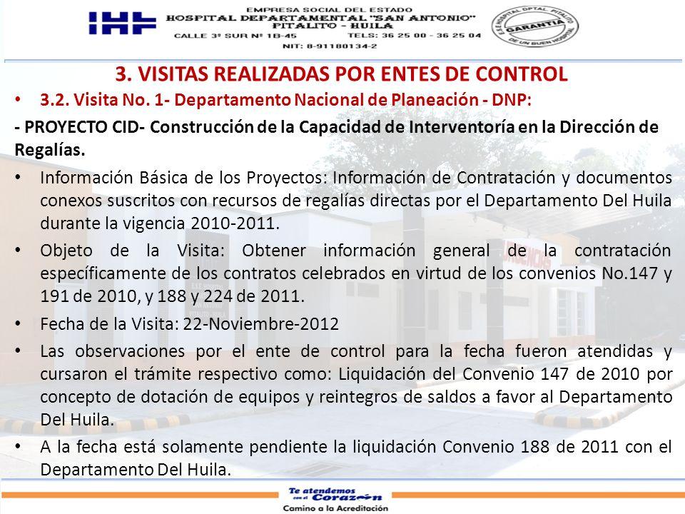3. VISITAS REALIZADAS POR ENTES DE CONTROL 3.2. Visita No. 1- Departamento Nacional de Planeación - DNP: - PROYECTO CID- Construcción de la Capacidad
