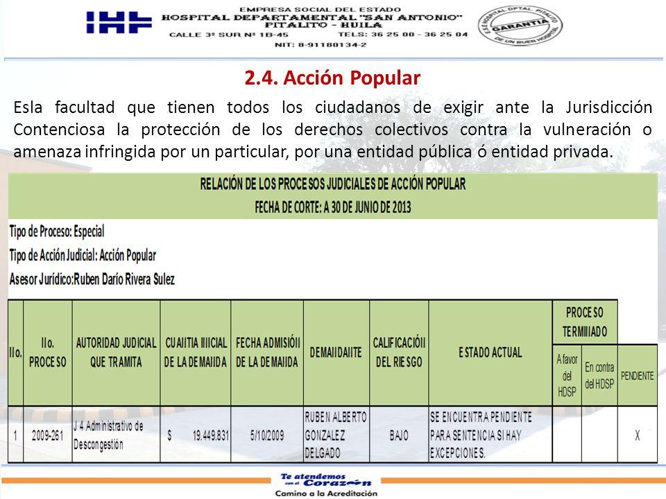 2.4. Acción Popular Esla facultad que tienen todos los ciudadanos de exigir ante la Jurisdicción Contenciosa la protección de los derechos colectivos