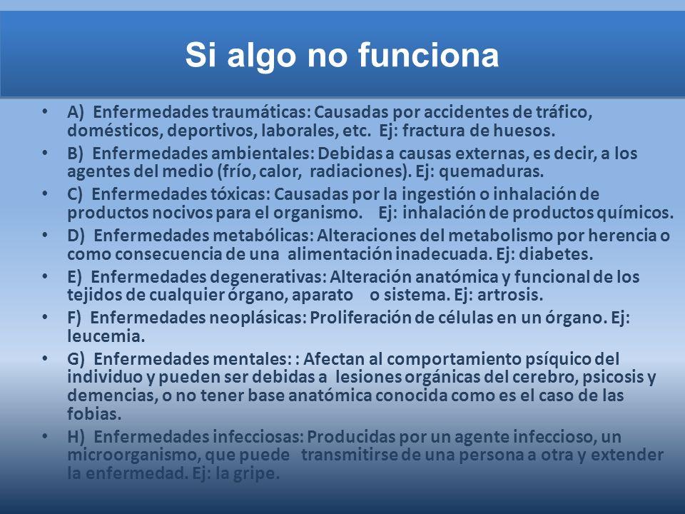 Si algo no funciona A) Enfermedades traumáticas: Causadas por accidentes de tráfico, domésticos, deportivos, laborales, etc.