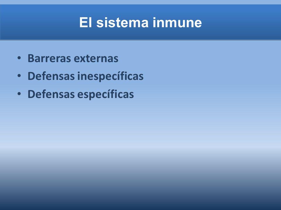 El sistema inmune Barreras externas Defensas inespecíficas Defensas específicas