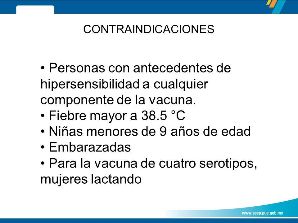 CONTRAINDICACIONES Personas con antecedentes de hipersensibilidad a cualquier componente de la vacuna.