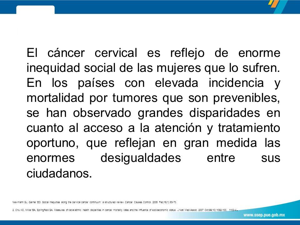El cáncer cervical es reflejo de enorme inequidad social de las mujeres que lo sufren.