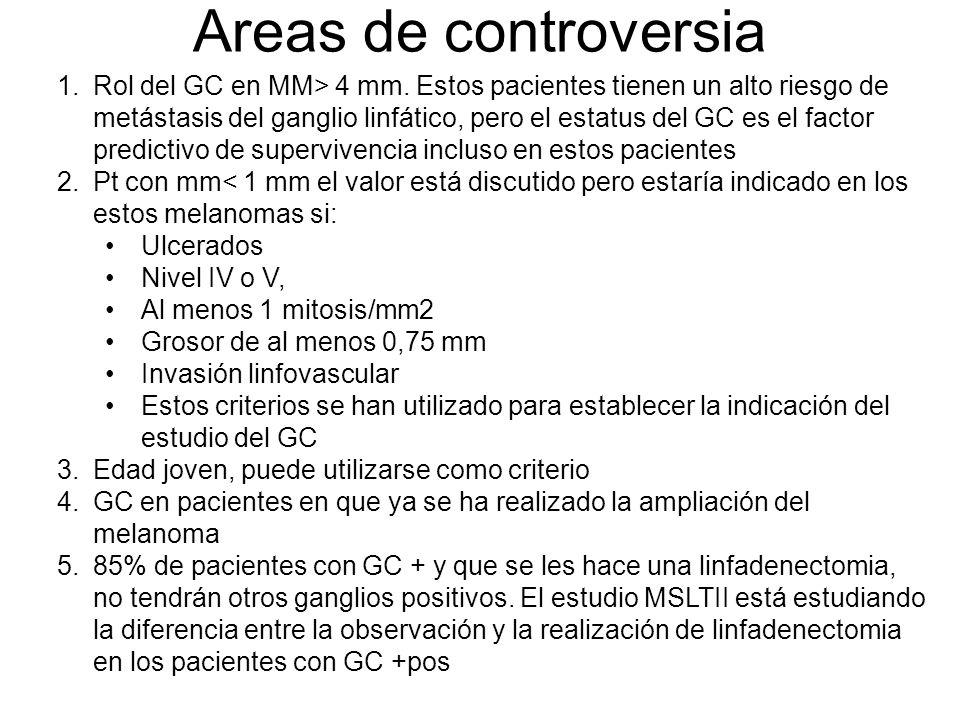 Guias de actuación NCCN 1 mm con ulceración o 1 mitosis/MM2 1.01-2.00 mm sin ulceración Estadio II (1.01-2.00 mm con ulceración) o > 2.00 mm sin ulceración Estadio Ia (grosor tumoral de 0,75 mm o mayor, margen profundo positivo, invasión linfovascular, nivel de Clark IV o V, No se recomienda para estadios de bajo riesgo: Ia o Ib (con grosor máximo de 0,5 mm y menos de 2 mitosis/mm2