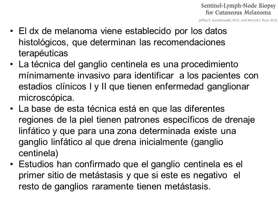 Los objetivos del ganglio linfático son: 1.Estadiaje linfático adecuado 2.Control de enfermedad regional 3.Mejora de la supervivencia En resumen: Intenta identificar pacientes con ganglios clínicamente negativos pero con metástasis ganglionares ocultas (para prevenir a estos enfermos de desarrollar ganglios linfáticos palpables) Identificar pacientes con ganglios negativos en los cuales no está indicada la realización de tratamientos adicionales.