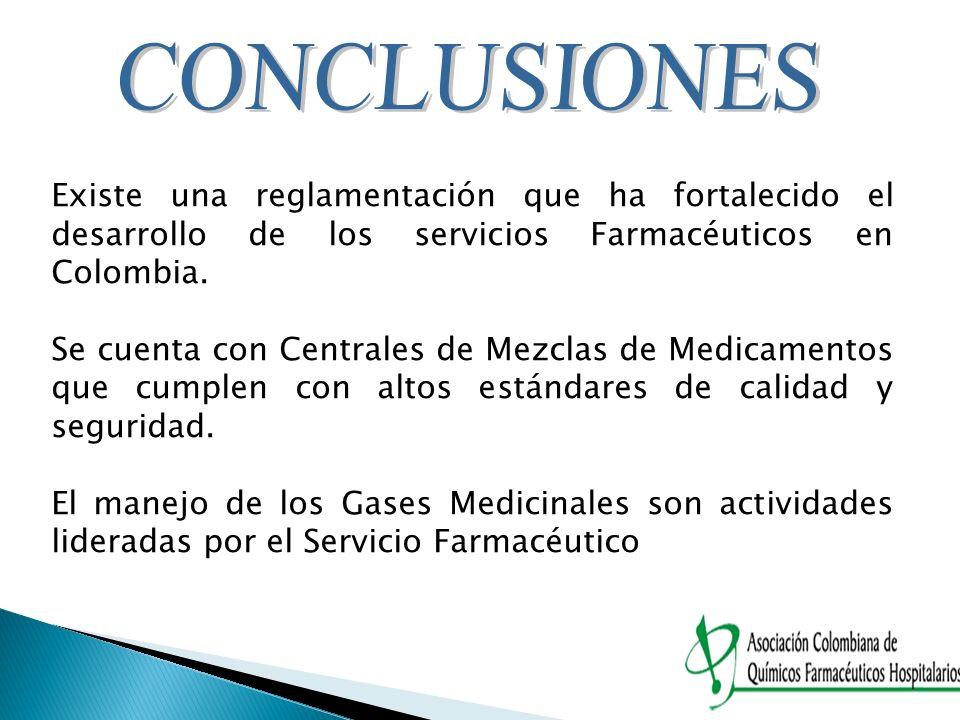 Existe una reglamentación que ha fortalecido el desarrollo de los servicios Farmacéuticos en Colombia. Se cuenta con Centrales de Mezclas de Medicamen