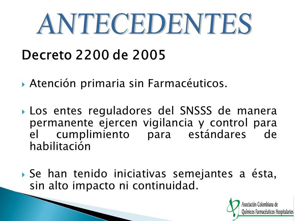 Decreto 2200 de 2005 Atención primaria sin Farmacéuticos. Los entes reguladores del SNSSS de manera permanente ejercen vigilancia y control para el cu
