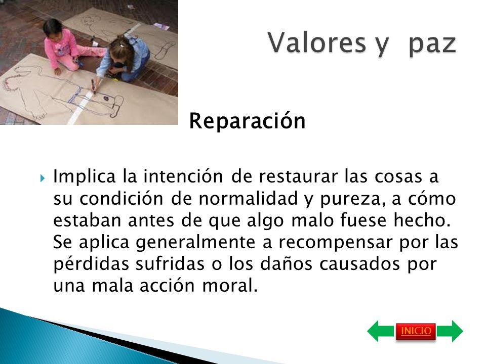 Reparación Implica la intención de restaurar las cosas a su condición de normalidad y pureza, a cómo estaban antes de que algo malo fuese hecho.