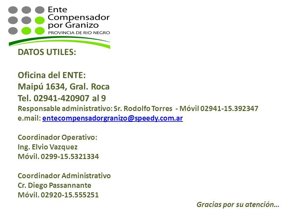 DATOS UTILES: Oficina del ENTE: Maipú 1634, Gral. Roca Tel. 02941-420907 al 9 Responsable administrativo: Sr. Rodolfo Torres - Móvil 02941-15.392347 e