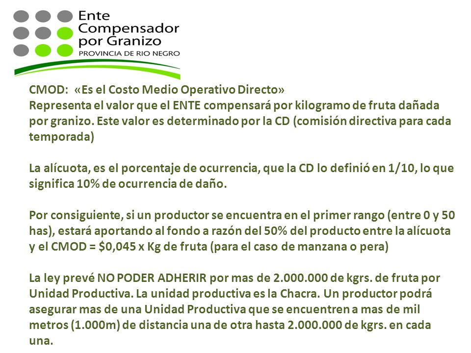 CMOD: «Es el Costo Medio Operativo Directo» Representa el valor que el ENTE compensará por kilogramo de fruta dañada por granizo. Este valor es determ