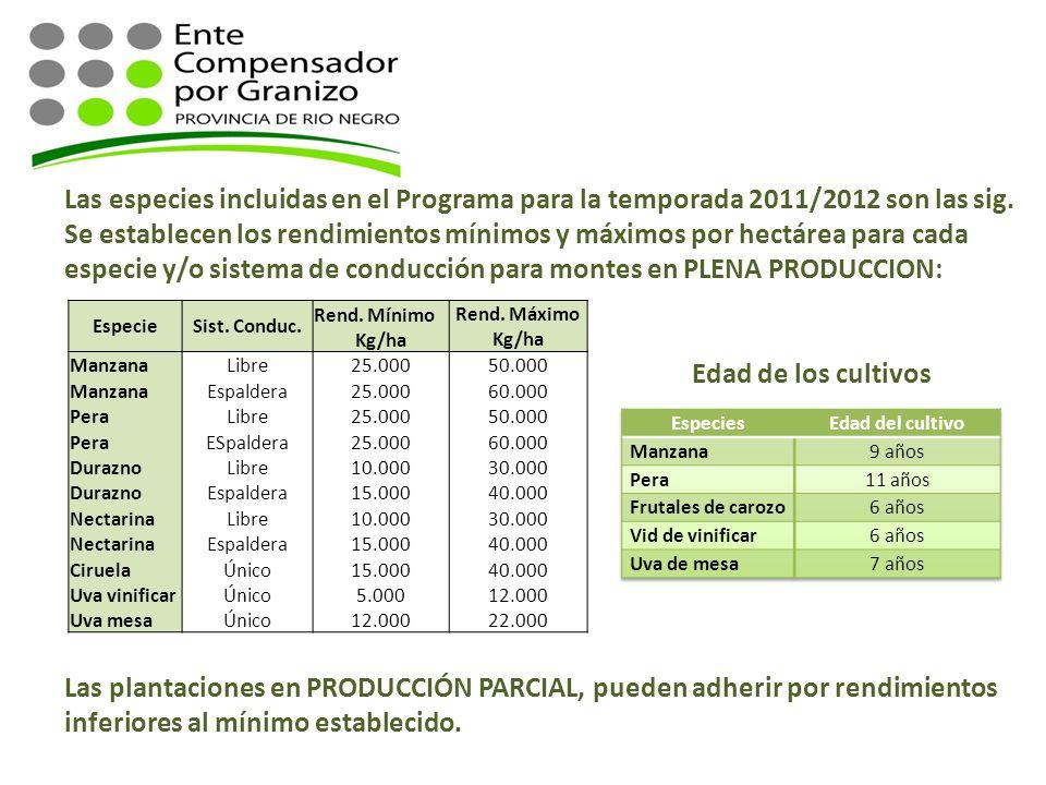Las especies incluidas en el Programa para la temporada 2011/2012 son las sig. Se establecen los rendimientos mínimos y máximos por hectárea para cada