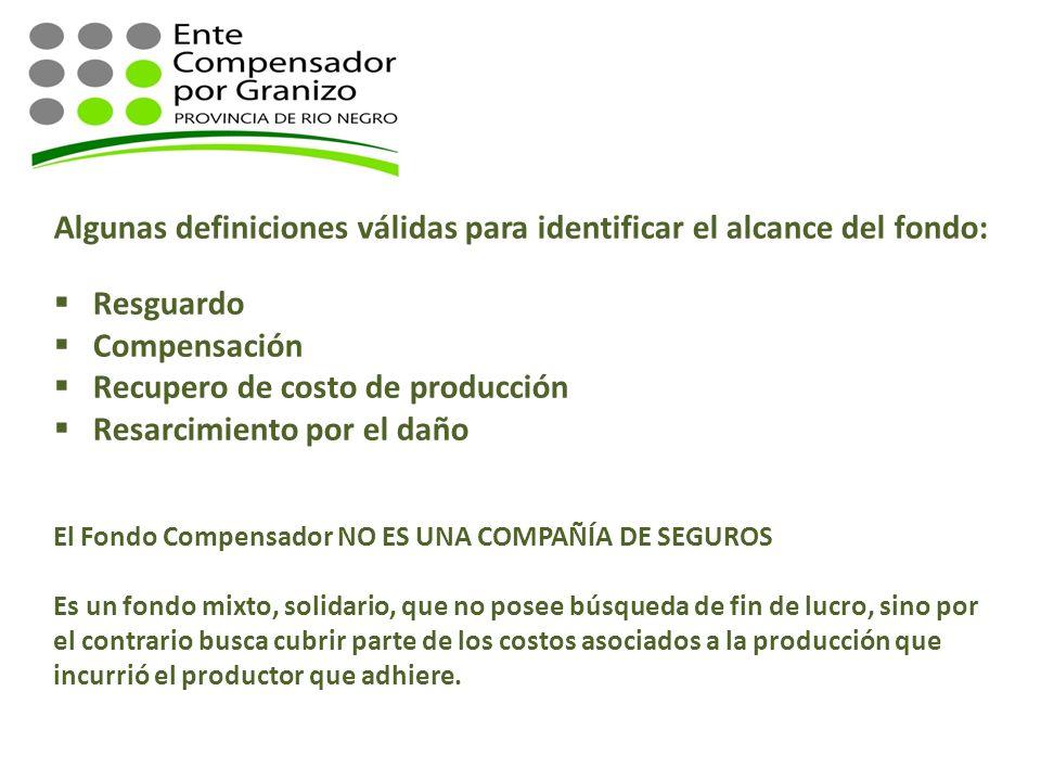 Algunas definiciones válidas para identificar el alcance del fondo: Resguardo Compensación Recupero de costo de producción Resarcimiento por el daño E