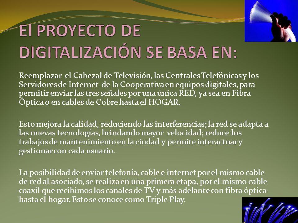 Reemplazar el Cabezal de Televisión, las Centrales Telefónicas y los Servidores de Internet de la Cooperativa en equipos digitales, para permitir envi