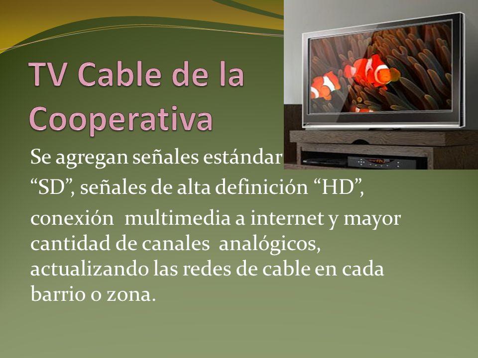 La Cooperativa brinda este servicio a través de la red de cable hasta el hogar y sino en forma inalámbrica (Wi Fi), ofreciendo todas las posibilidades que se suman en productos vía IP.