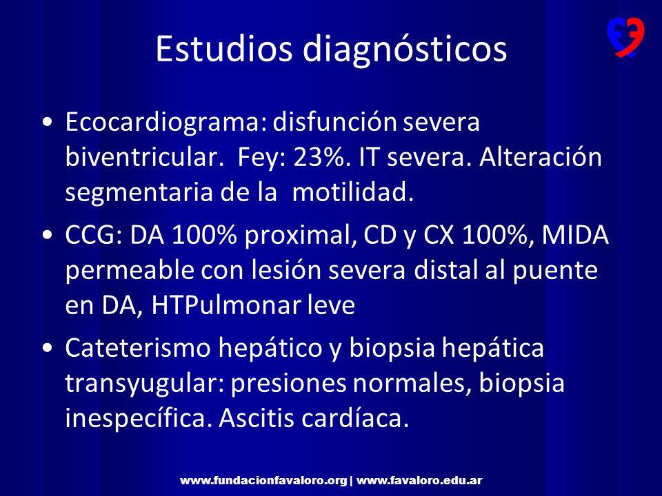www.fundacionfavaloro.org | www.favaloro.edu.ar Evaluación por Cuidados Paliativos Cardiológicos (CPC) -Inicio 1/3/11 -Criterio de consulta: -Reinternaciones frecuentes por descompensación de IC (3 en los últimos 6 meses) -Insuficiencia cardíaca severa (Fey <30%) -Evaluación funcional y cognitiva inicial: -ESAS: Puntaje 0 en todos los síntomas -ECOG: 1 – PPS: 90 -MMT: 28/30 – CAM: negativo