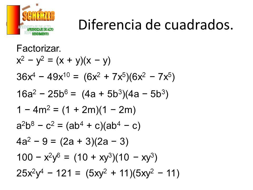 Diferencia de cuadrados.Factorizar.
