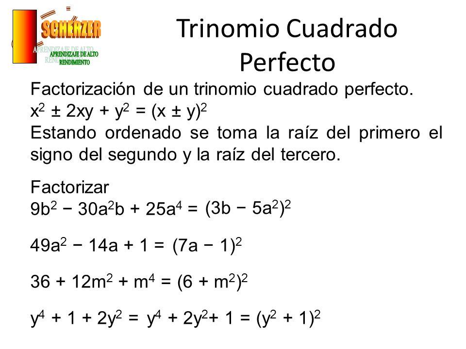 Trinomio Cuadrado Perfecto Factorización de un trinomio cuadrado perfecto.