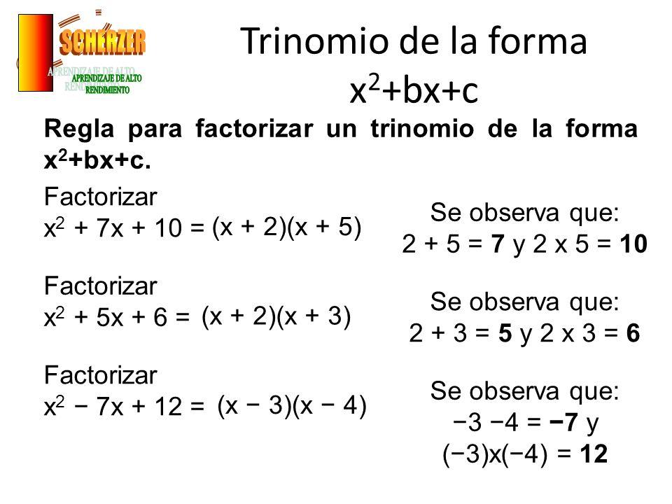 Trinomio de la forma x 2 +bx+c Regla para factorizar un trinomio de la forma x 2 +bx+c.