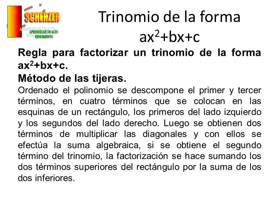 Trinomio de la forma ax 2 +bx+c Regla para factorizar un trinomio de la forma ax 2 +bx+c.